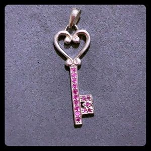 Sterling Silver Key with Pink Gems